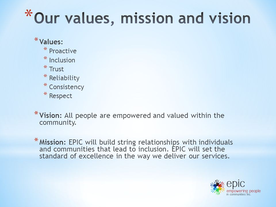 EPIC's Expectations – * Act professionally and positive attitude * Team work and attendance to team meetings * Communicate with your coordinator, person you support and their family * Care and diligence at all times * Follow reporting and recording requirements * 'person' oriented, not 'task'