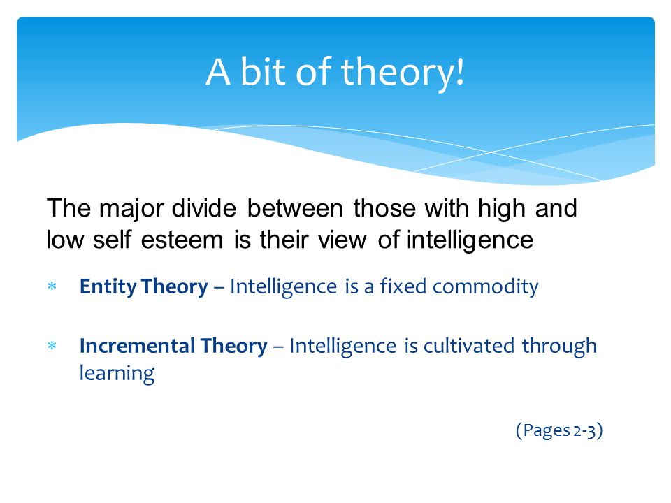  Entity Theory – Intelligence is a fixed commodity  Incremental Theory – Intelligence is cultivated through learning (Pages 2-3) A bit of theory! Th