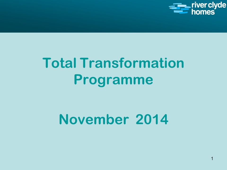 Intro slide Text Second level text Total Transformation Programme November 2014 1