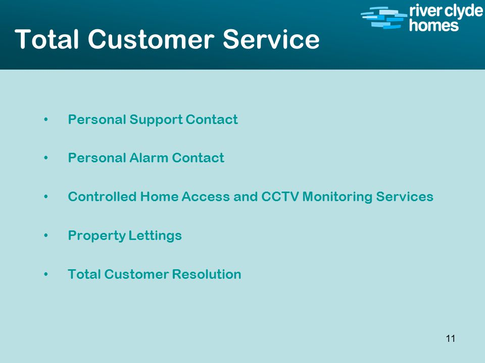 Intro slide Text Second level text Total Customer Service Personal Support Contact Personal Alarm Contact Controlled Home Access and CCTV Monitoring Services Property Lettings Total Customer Resolution 11