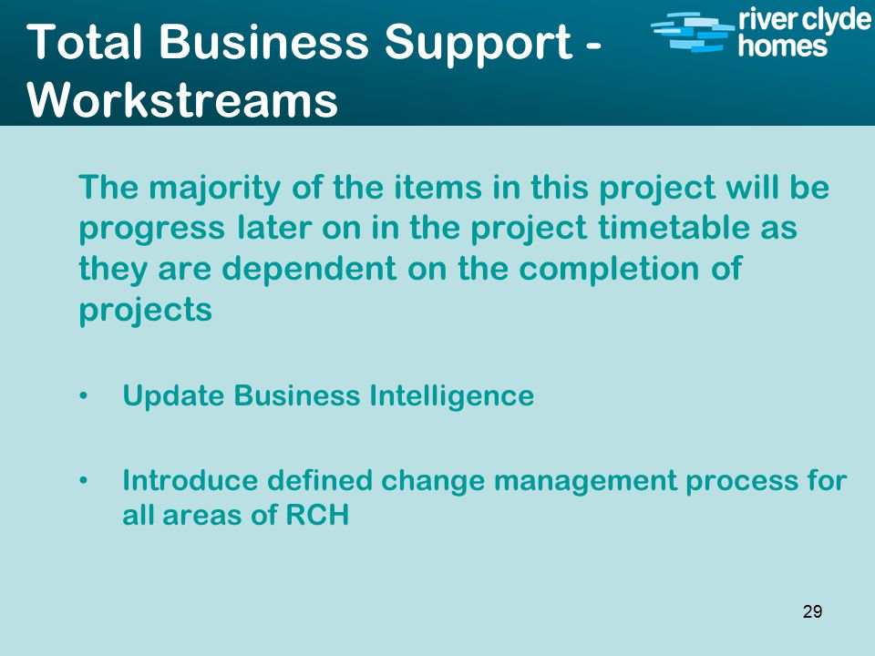 Intro slide Text Second level text Total Business Support - Workstreams The majority of the items in this project will be progress later on in the project timetable as they are dependent on the completion of projects Update Business Intelligence Introduce defined change management process for all areas of RCH 29