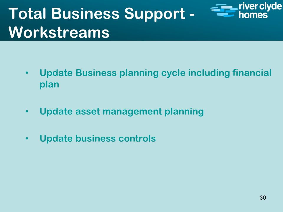 Intro slide Text Second level text Total Business Support - Workstreams Update Business planning cycle including financial plan Update asset management planning Update business controls 30