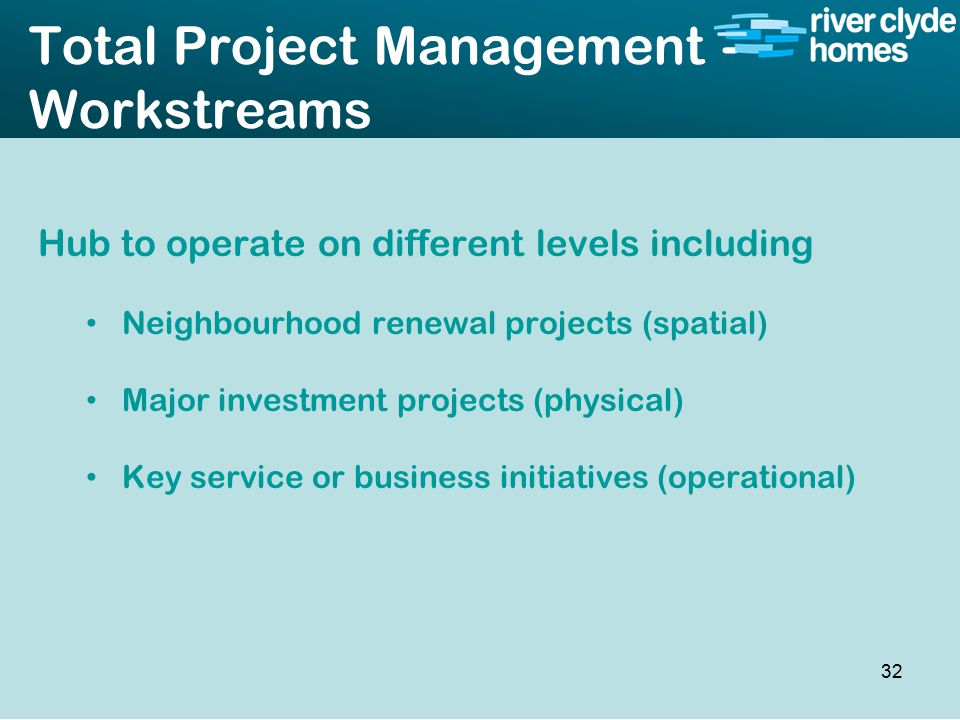 Intro slide Text Second level text Total Project Management - Workstreams Hub to operate on different levels including Neighbourhood renewal projects (spatial) Major investment projects (physical) Key service or business initiatives (operational) 32