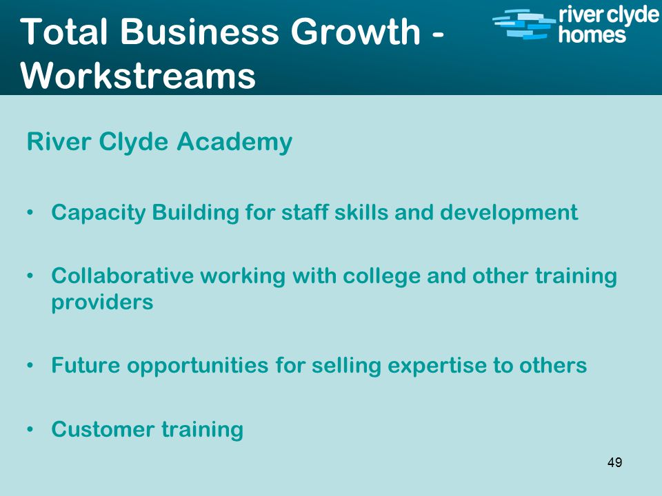 Intro slide Text Second level text Total Business Growth - Workstreams River Clyde Academy Capacity Building for staff skills and development Collaborative working with college and other training providers Future opportunities for selling expertise to others Customer training 49