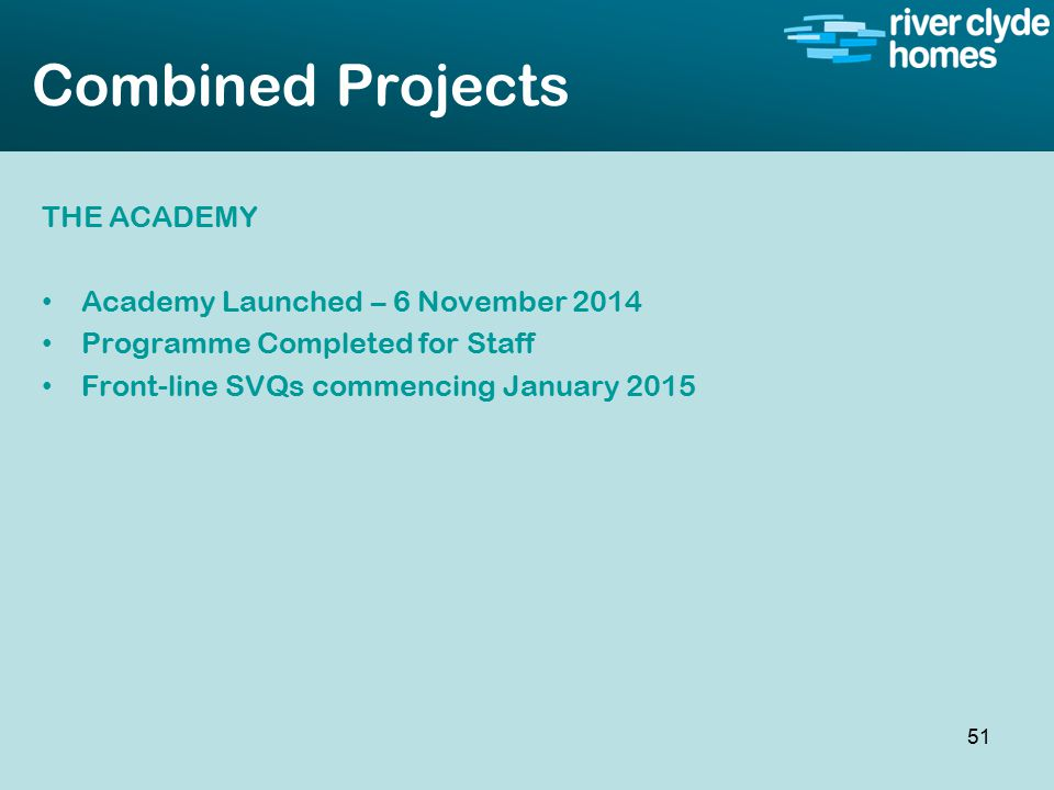 Intro slide Text Second level text Combined Projects THE ACADEMY Academy Launched – 6 November 2014 Programme Completed for Staff Front-line SVQs commencing January 2015 51
