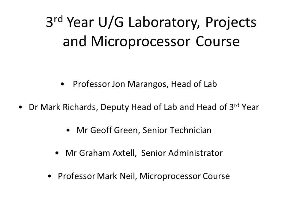 Agenda 1.3YL Introduction: Jon Marangos 2.Safety: Jon Marangos 3.Projects: Mark Richards 4.The Lab Team: Geoff Green 5.Microprocessors: Mark Neil 6.Any questions.