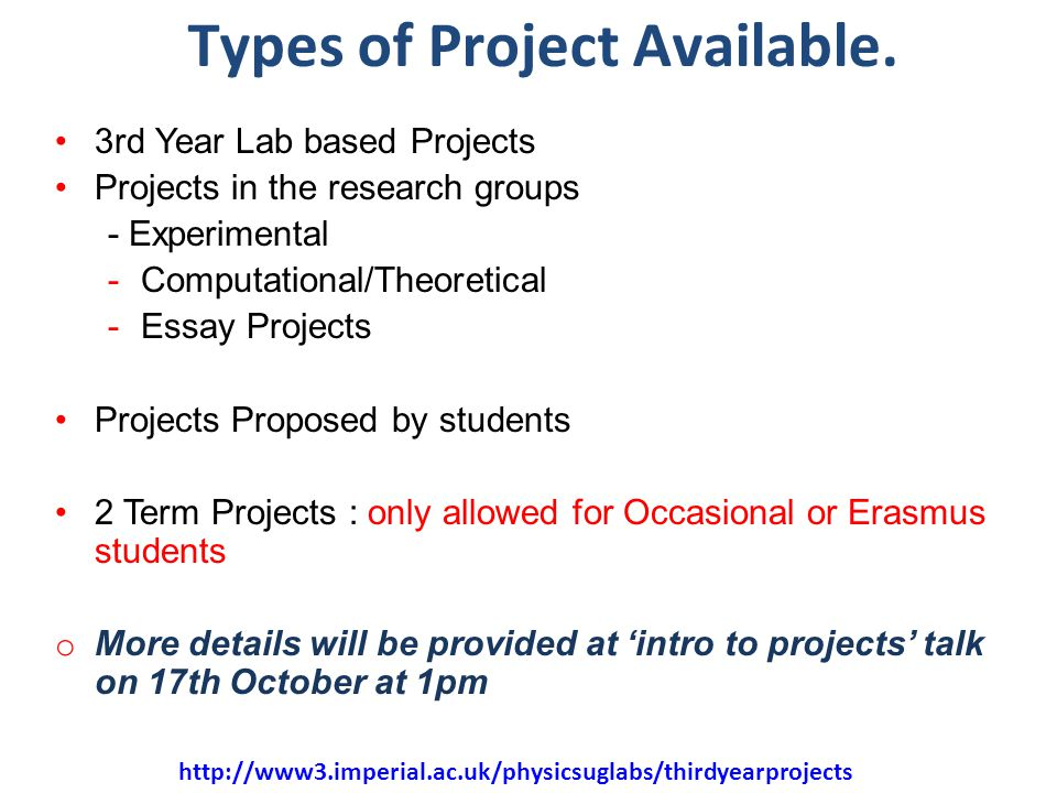 33 Types of Project Available.