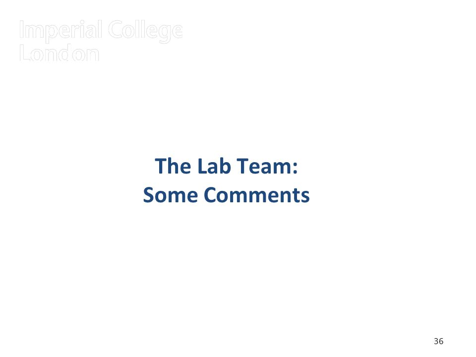 36 The Lab Team: Some Comments 36