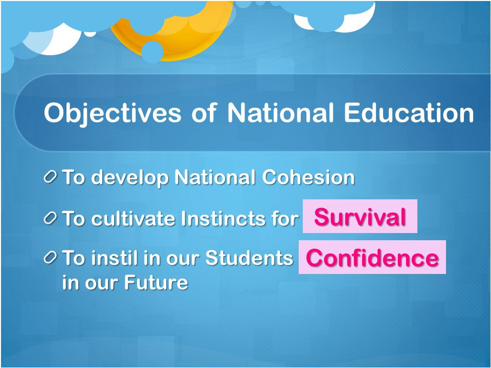 Objectives of National Education To develop National Cohesion To cultivate Instincts for iravvlus To instil in our Students fnonidcece in our Future Survival Confidence
