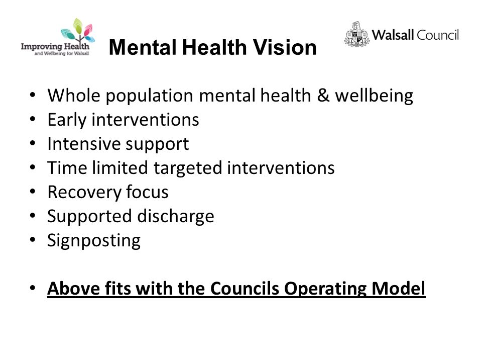 Whole population mental health & wellbeing Early interventions Intensive support Time limited targeted interventions Recovery focus Supported discharge Signposting Above fits with the Councils Operating Model Mental Health Vision