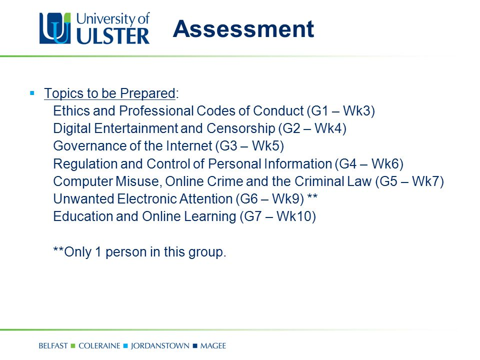 Assessment  Topics to be Prepared: Ethics and Professional Codes of Conduct (G1 – Wk3) Digital Entertainment and Censorship (G2 – Wk4) Governance of