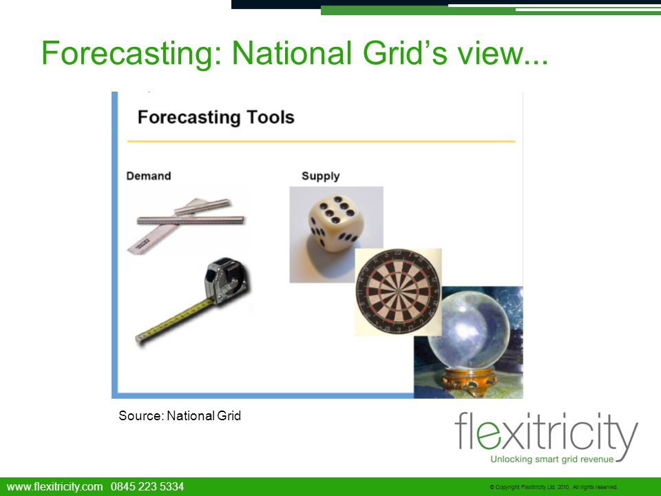 www.flexitricity.com 0845 223 5334 © Copyright Flexitricity Ltd. 2010. All rights reserved. Forecasting: National Grid's view... Source: National Grid