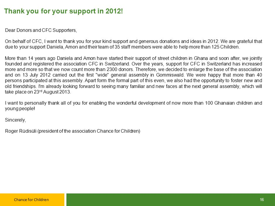 Chance for Children Thank you for your support in 2012.