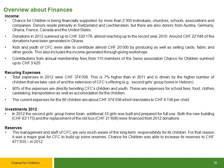 Chance for Children 19 Overview about Finances Income: Chance for Children is being financially supported by more than 2'300 individuals, churches, schools, associations and companies.
