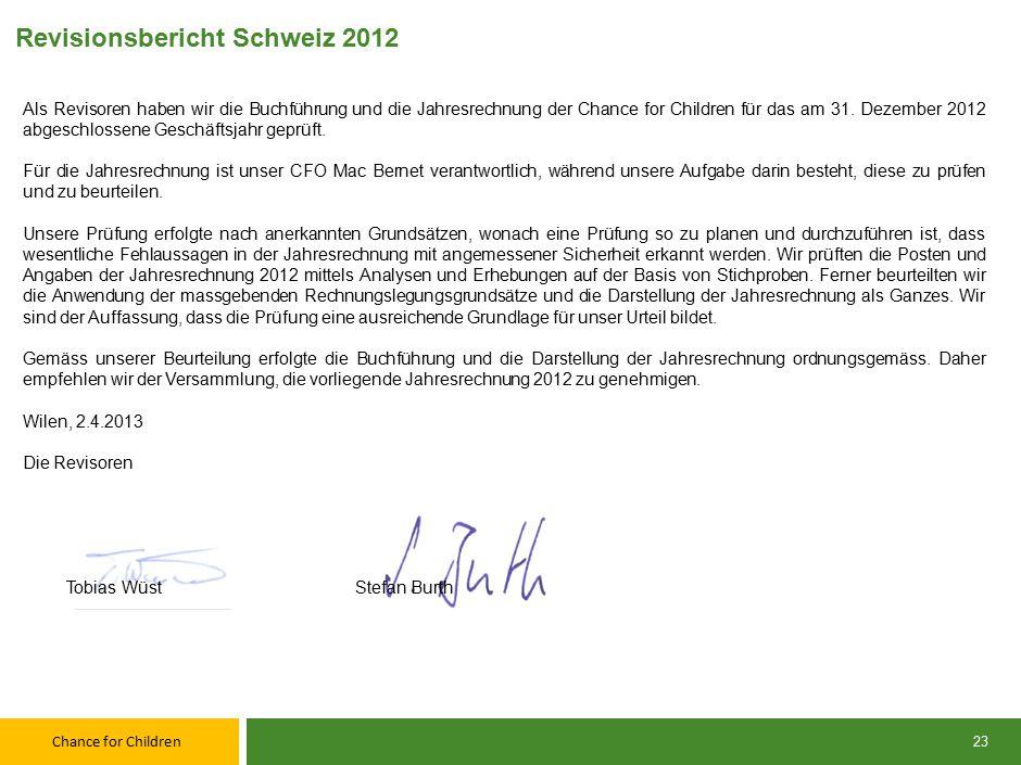Chance for Children Revisionsbericht Schweiz 2012 Als Revisoren haben wir die Buchführung und die Jahresrechnung der Chance for Children für das am 31.