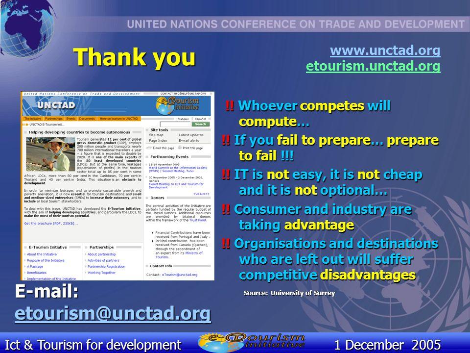 Ict & Tourism for development1 December 2005 E-mail: etourism@unctad.org www.unctad.org etourism.unctad.org !.