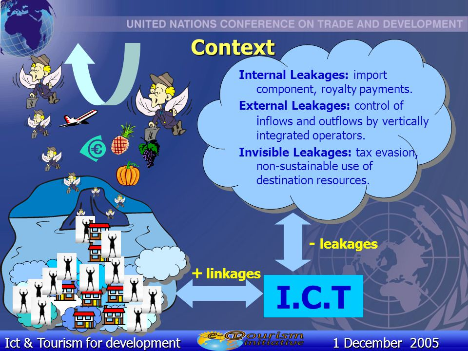 Ict & Tourism for development1 December 2005 Internal Leakages: import component, royalty payments.