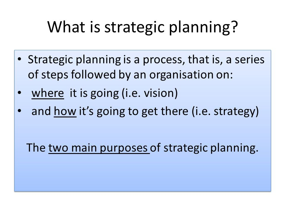 What is strategic planning.