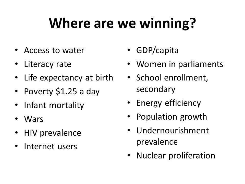 Where are we winning.