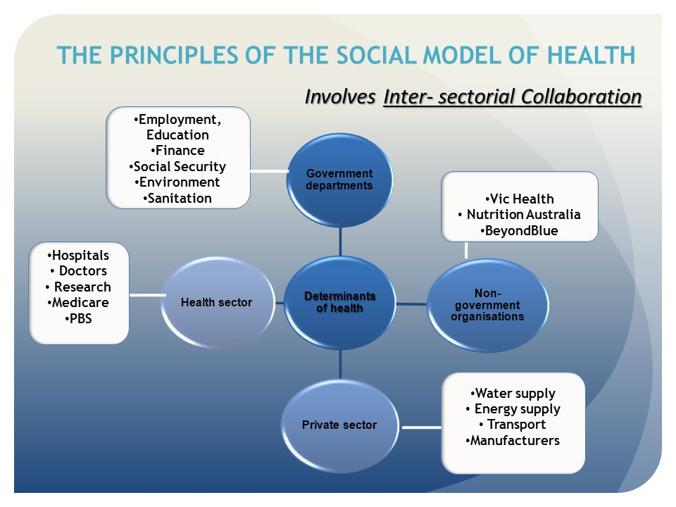 THE PRINCIPLES OF THE SOCIAL MODEL OF HEALTH Involves Inter- sectorial Collaboration Involves Inter- sectorial Collaboration Determinants of health Go