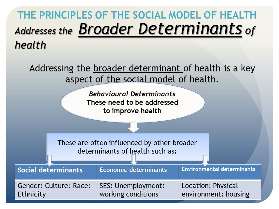 THE PRINCIPLES OF THE SOCIAL MODEL OF HEALTH Addresses the Broader D eterminants of health Addressing the broader determinant of health is a key aspec
