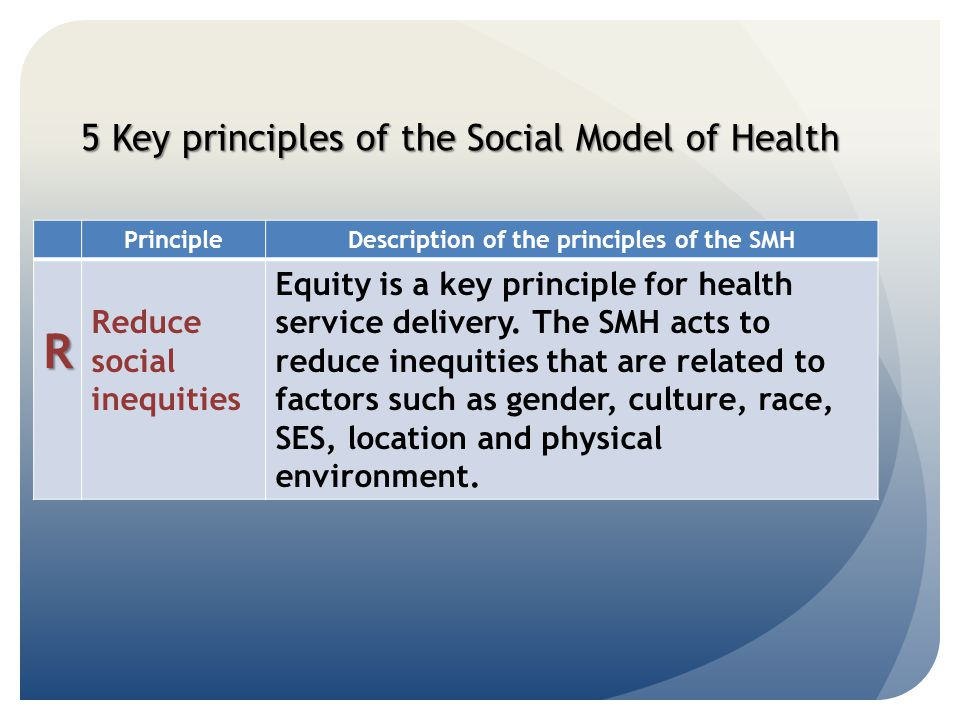 5 Key principles of the Social Model of Health PrincipleDescription of the principles of the SMH R Reduce social inequities Equity is a key principle