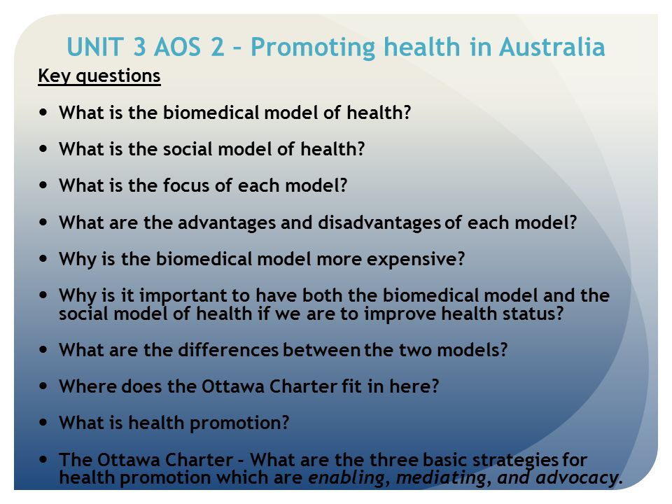 THE OTTAWA CHARTER FOR HEALTH PROMOTION Priority or Action area 1 Building Health Public Policy B - bad Relates directly to decisions made by governments in relation to laws and policies that directly affect health health sector local councils - recreation work place policies housing and transport school policies Examples: o healthier environments – banning smoking o influence behaviour – compulsory wearing of seat belts o wearing hats during play at school o removing the GST on unprocessed foods