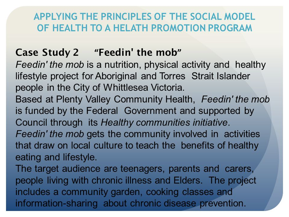 "APPLYING THE PRINCIPLES OF THE SOCIAL MODEL OF HEALTH TO A HELATH PROMOTION PROGRAM Case Study 2 "" Feedin' the mob "" Feedin' the mob is a nutrition, p"