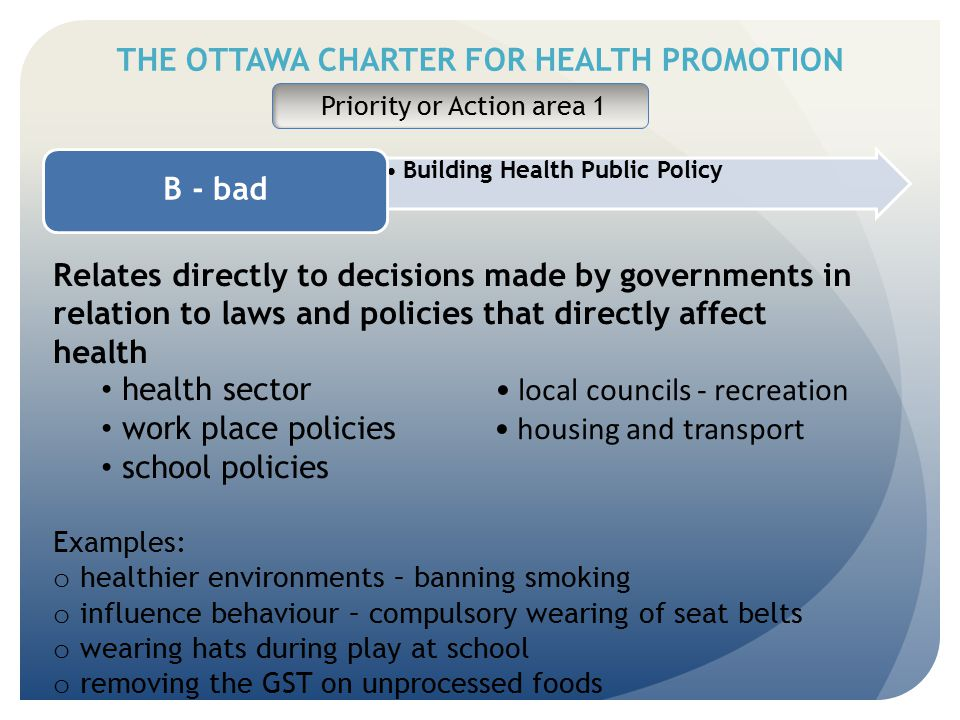THE OTTAWA CHARTER FOR HEALTH PROMOTION Priority or Action area 1 Building Health Public Policy B - bad Relates directly to decisions made by governme
