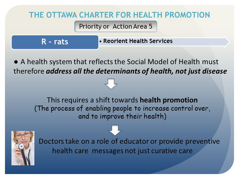 THE OTTAWA CHARTER FOR HEALTH PROMOTION Reorient Health Services R - rats Priority or Action Area 5 ● A health system that reflects the Social Model o