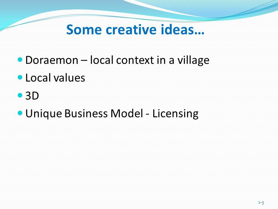 Doraemon – local context in a village Local values 3D Unique Business Model - Licensing 1-5 Some creative ideas…