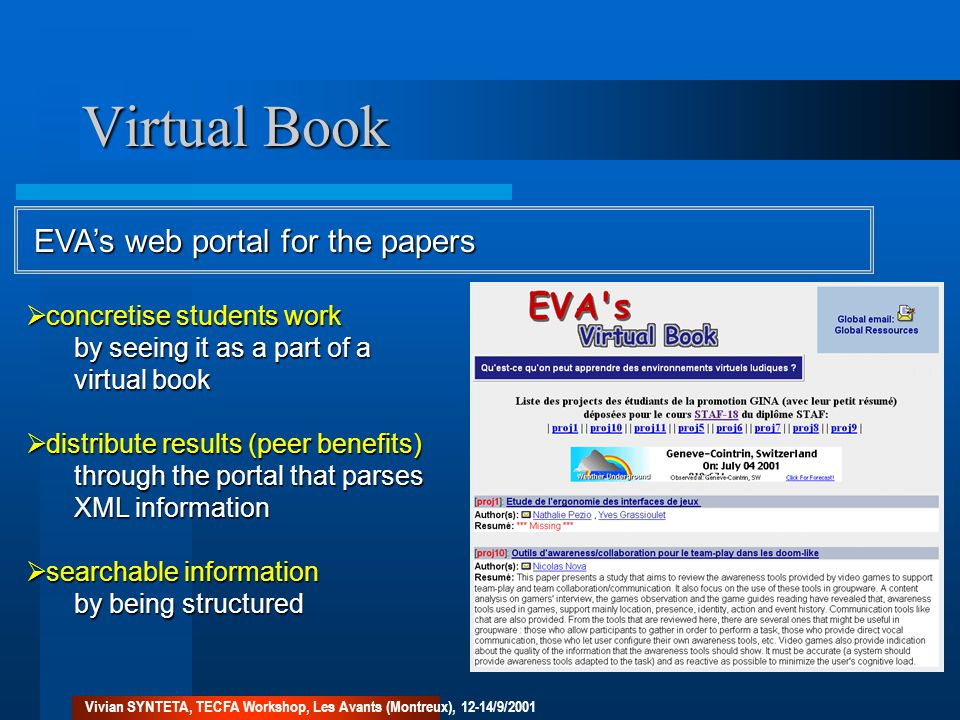 Virtual Book EVA's web portal for the papers  concretise students work by seeing it as a part of a virtual book  distribute results (peer benefits) through the portal that parses XML information  searchable information by being structured Vivian SYNTETA, TECFA Workshop, Les Avants (Montreux), 12-14/9/2001