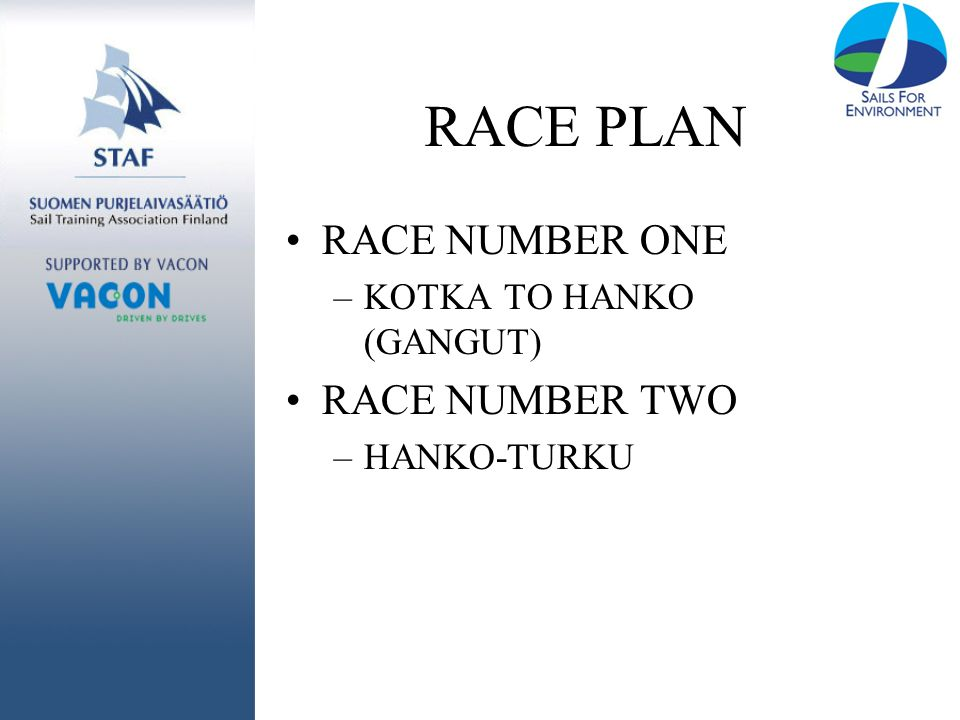 RACE PLAN RACE NUMBER ONE –KOTKA TO HANKO (GANGUT) RACE NUMBER TWO –HANKO-TURKU