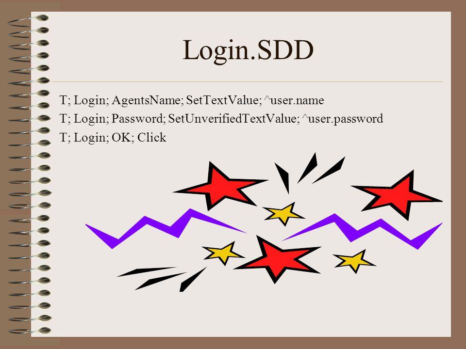 Login.SDD T; Login; AgentsName; SetTextValue; ^user.name T; Login; Password; SetUnverifiedTextValue; ^user.password T; Login; OK; Click