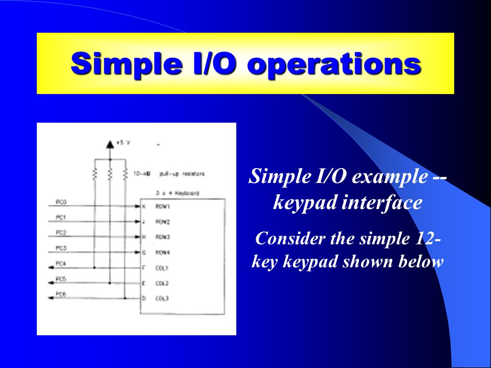 Simple I/O operations Simple I/O example -- keypad interface Consider the simple 12- key keypad shown below