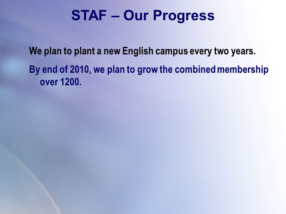 STAF – Our Progress We plan to plant a new English campus every two years. By end of 2010, we plan to grow the combined membership over 1200.