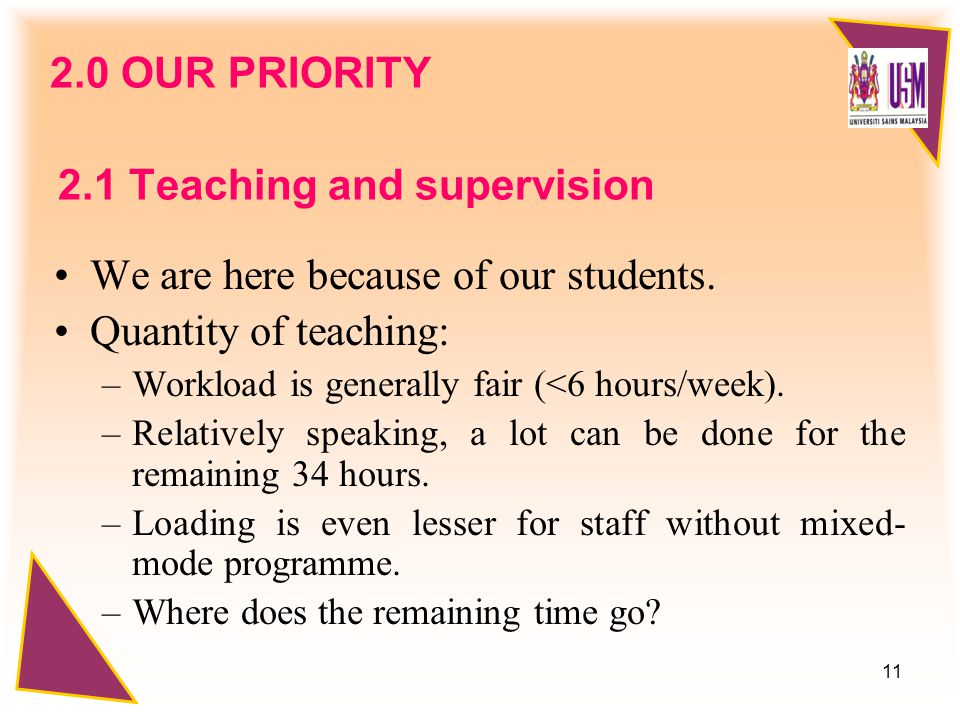 11 2.0 OUR PRIORITY We are here because of our students.