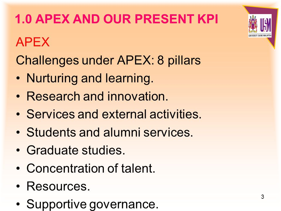3 1.0 APEX AND OUR PRESENT KPI APEX Challenges under APEX: 8 pillars Nurturing and learning.