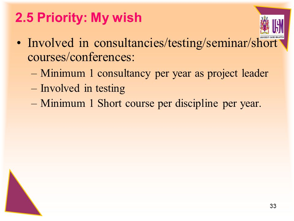 33 2.5 Priority: My wish Involved in consultancies/testing/seminar/short courses/conferences: –Minimum 1 consultancy per year as project leader –Involved in testing –Minimum 1 Short course per discipline per year.