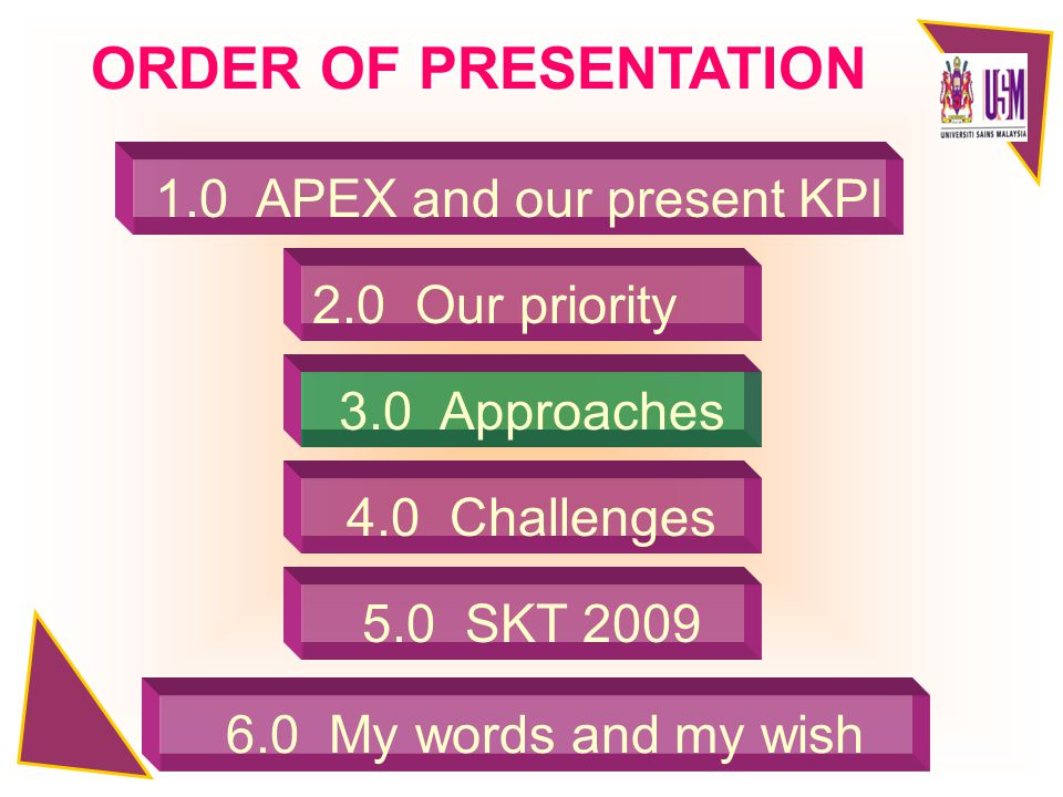 2.0 Our priority 3.0 Approaches 4.0 Challenges 5.0 SKT 2009 ORDER OF PRESENTATION 6.0 My words and my wish 1.0 APEX and our present KPI