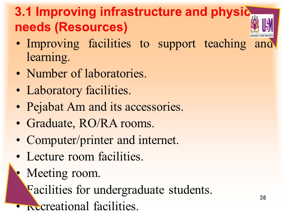 38 3.1 Improving infrastructure and physical needs (Resources) Improving facilities to support teaching and learning.