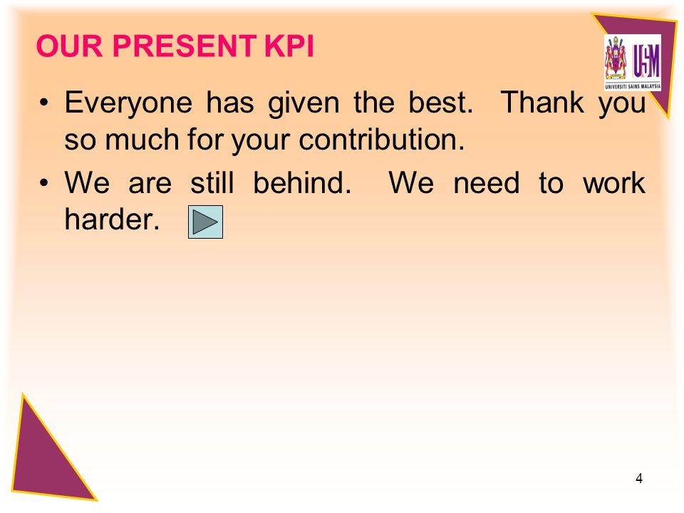 4 OUR PRESENT KPI Everyone has given the best. Thank you so much for your contribution.