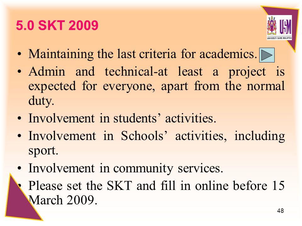 48 5.0 SKT 2009 Maintaining the last criteria for academics.