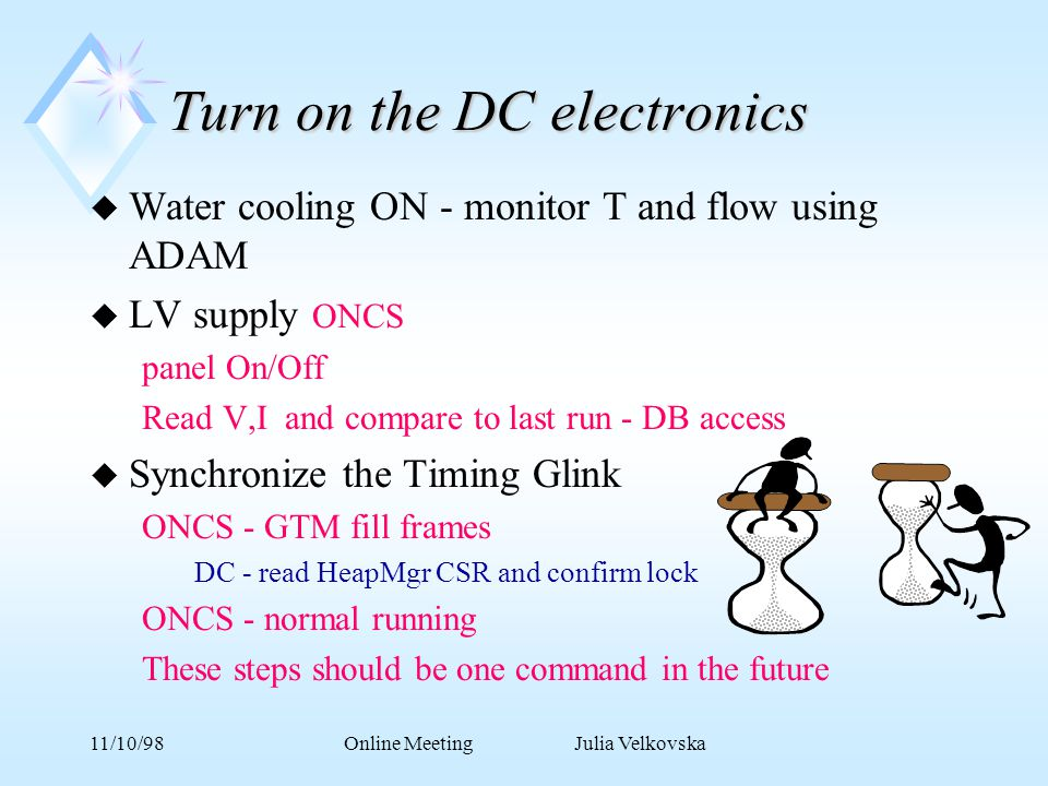 11/10/98Online Meeting Julia Velkovska Turn on the DC electronics u Water cooling ON - monitor T and flow using ADAM u LV supply ONCS panel On/Off Read V,I and compare to last run - DB access u Synchronize the Timing Glink ONCS - GTM fill frames DC - read HeapMgr CSR and confirm lock ONCS - normal running These steps should be one command in the future