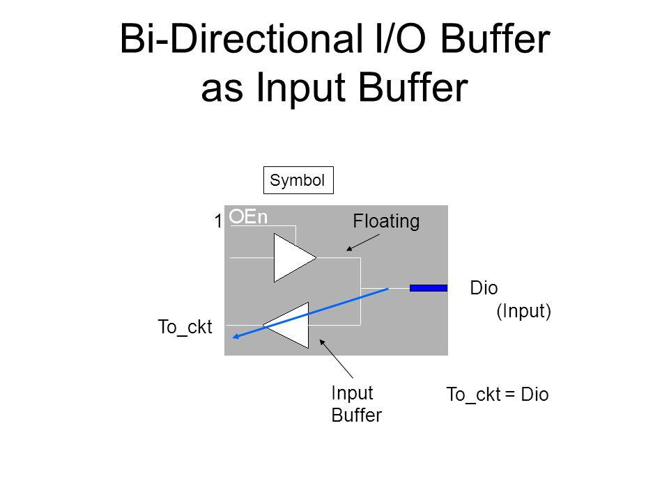 Bi-Directional I/O Buffer as Input Buffer Symbol Floating Input Buffer Dio 1 To_ckt (Input) To_ckt = Dio