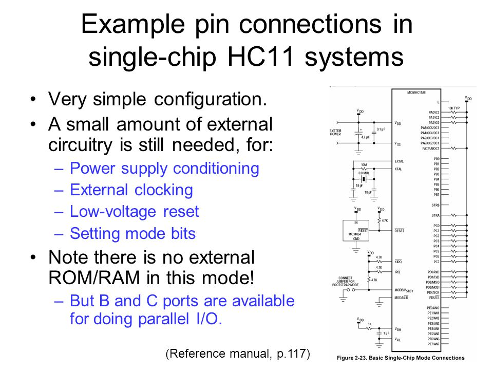 Example pin connections in single-chip HC11 systems Very simple configuration. A small amount of external circuitry is still needed, for: –Power suppl