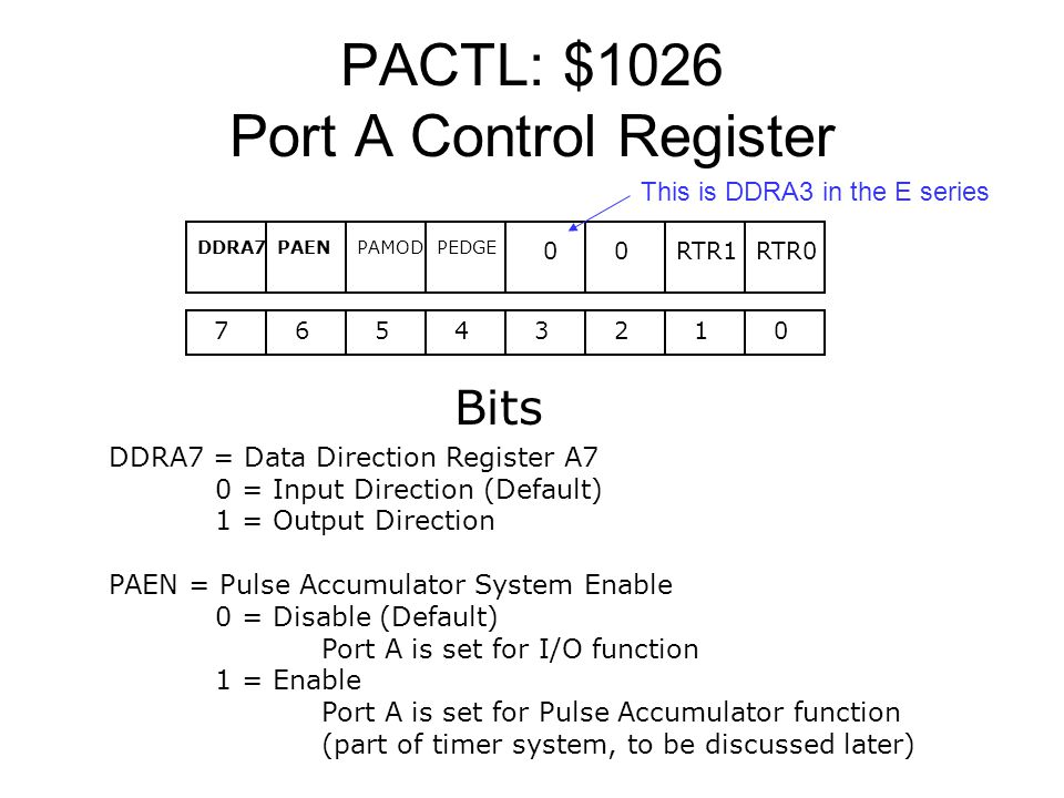 PACTL: $1026 Port A Control Register 76543210 Bits RTR0RTR1 PEDGEPAMODPAENDDRA7 00 DDRA7 = Data Direction Register A7 0 = Input Direction (Default) 1 = Output Direction PAEN = Pulse Accumulator System Enable 0 = Disable (Default) Port A is set for I/O function 1 = Enable Port A is set for Pulse Accumulator function (part of timer system, to be discussed later) This is DDRA3 in the E series