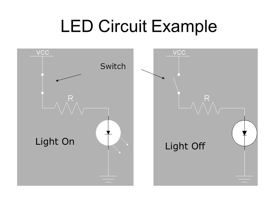 LED Circuit Example Light On Light Off Switch