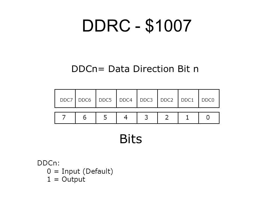 DDRC - $1007 76543210 Bits DDC0 DDCn: 0 = Input (Default) 1 = Output DDC1DDC2DDC3DDC4DDC5DDC6DDC7 DDCn= Data Direction Bit n