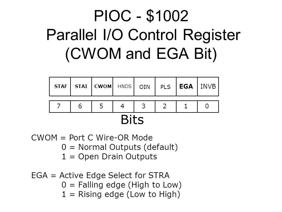 PIOC - $1002 Parallel I/O Control Register (CWOM and EGA Bit) 76543210 Bits INVBEGA HNDSCWOMSTAISTAF OINPLS CWOM = Port C Wire-OR Mode 0 = Normal Outp